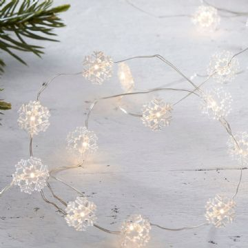 White Snowflake String Lights,  Battery Operated